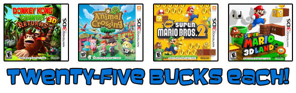 Nintendo franchise 3DS games, twenty-five bucks each!